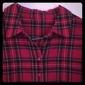 Coldwater Creek Red Flannel Tunic